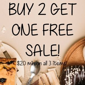 Buy 2 at $20 each get one $20+ item FREE